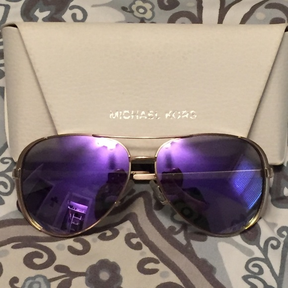 2db3b78a3fc Michael Kors aviator sunglasses with purple lenses.  M 5b0da7fa8af1c547c12e73ea